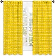 Yellow Blackout curtain, Hippie Flower Childrens
