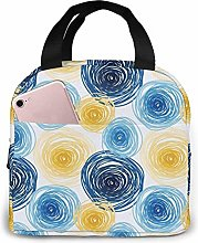 Yellow Blue Lines Circle Lunch Bag Tote Bag Lunch