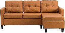 Yellow Brown L-Shaped Sofa Leather Couch Bed