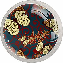 Yellow Butterfly 4 Pieces Crystal Glass Wardrobe