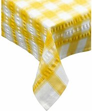 "Yellow Check Seersucker Tablecloth 70"" Round"