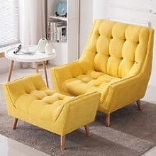 Yellow Chenille Lounge Armchair And Footstool