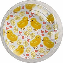 Yellow Chick Cute 4 Pieces Crystal Glass Wardrobe