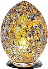 Yellow Crackle Mosaic Glass Vintage Egg Table Lamp
