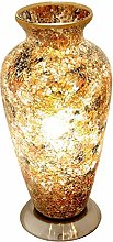Yellow Crackle Mosaic Glass Vintage Vase Table