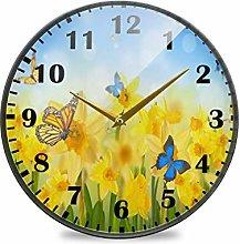 Yellow Daffodils Butterflies Wall Clock Silent Non