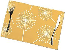 Yellow Dandelion Flowers Table Mats Set of 6