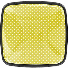 Yellow Dots Square Cabinet Knobs 4pcs Knobs for