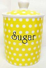 Yellow Dots Sugar Canister Fine Bone China Yellow