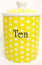 Yellow Dots Tea Canister Fine Bone China Yellow