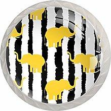 Yellow Elephants Black White Stripes Drawer Pulls
