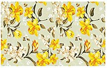Yellow Floral Rug For Living Room Coffee Table