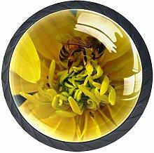 Yellow Flower and Bee Cabinet Door Knobs Handles