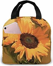 Yellow Flower Blue Golden Flower Lunch Bag