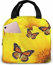 Yellow Flowers Butterflies Lunch Bag Tote Bag