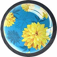 Yellow Flowers Knob Handles Door Knobs Cabinet
