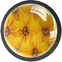 Yellow Flowers Seamless Pattern Cabinet Door Knobs