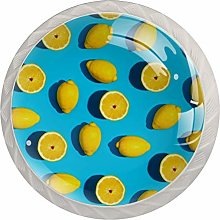 Yellow Fruit Lemon 4 Pieces Crystal Glass Wardrobe