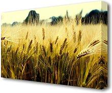 Yellow Grain Flowers Canvas Print Wall Art East