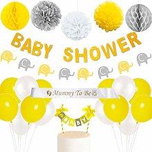 Yellow Grey Elephant Baby Shower Decorations