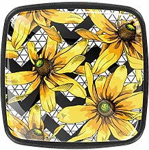 Yellow Heliopsis Square Cabinet Knobs and Pulls,
