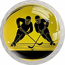 Yellow Hockey Player 4 Pieces Crystal Glass