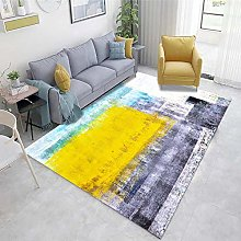 Yellow Large Living Room Rugs Abstract ink pattern