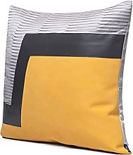 Yellow Leather Stitching Sofa Cotton Cushion Cover
