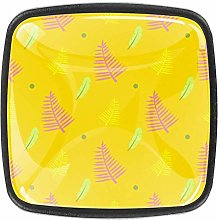 Yellow Leaves Square Cabinet Knobs and Pulls,
