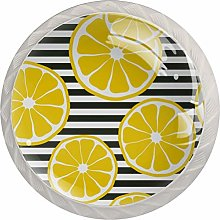 Yellow Lemon 4 Pieces Crystal Glass Wardrobe