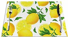 Yellow Lemon Fruits with Green Leaves Placemats