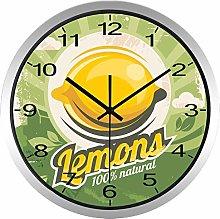 Yellow Lemon Wall Clock Summer Fruit Shop Kitchen