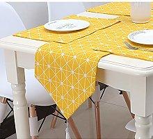 Yellow Linen Table Runner Modern for Rural Style