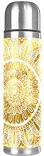 Yellow Mandala Golden Floral Pattern Double Wall