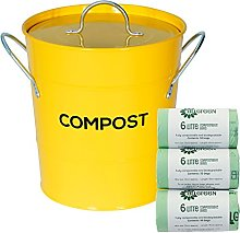 Yellow Metal Kitchen Compost Caddy & 150x