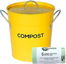 Yellow Metal Kitchen Compost Caddy & 50x All-Green