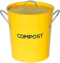 Yellow Metal Kitchen Compost Caddy - Composting