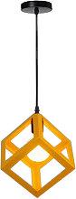 Yellow Modern Suspension Lighting Square Metal