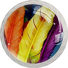 Yellow Orange Feathers, Modern Minimalist Printing