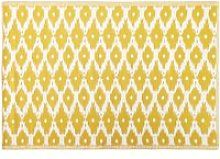 Yellow Outdoor Rug with White Graphic Print 140x200