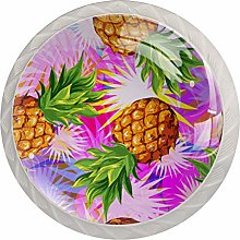 Yellow Pineapple 4 Pieces Crystal Glass Wardrobe
