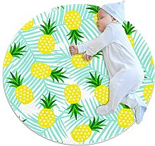 yellow pineapple, Printed Round Rug for Kids