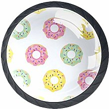 Yellow Pink Green Donut Pattern Cabinet Door Knobs