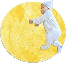 Yellow, Printed Round Rug for Kids Family Bedroom