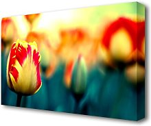 Yellow Red Tulips Flowers Canvas Print Wall Art
