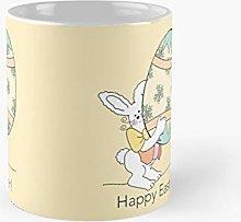Yellow Retro Happy Easter Bunny Sitting On