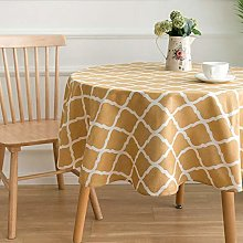 Yellow Round Table Cloth in Cotton and Linen for
