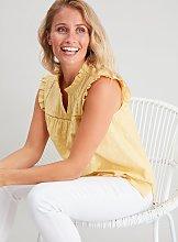Yellow Schiffli Lace Shell Top - 14