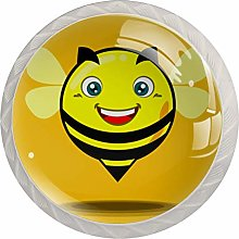 Yellow Smiley Bee 4 Pieces Crystal Glass Wardrobe