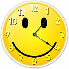 Yellow Smiley Face Silent Non Ticking Round